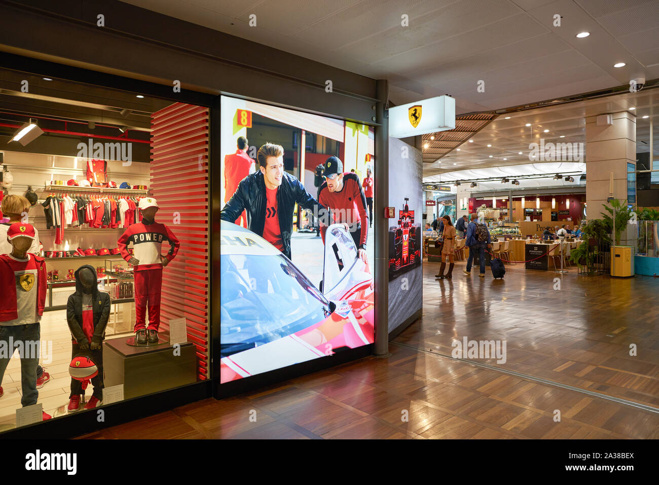 VENICE, ITALY - CIRCA MAY, 2019: Ferrari Store in Venice Marco Polo Airport. Stock Photo