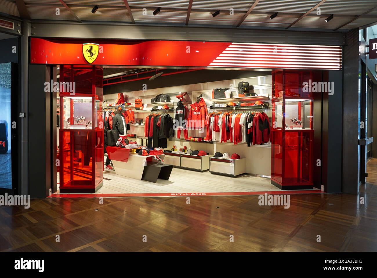 VENICE, ITALY - CIRCA MAY, 2019: entrance to Ferrari Store in Venice Marco Polo Airport. Stock Photo