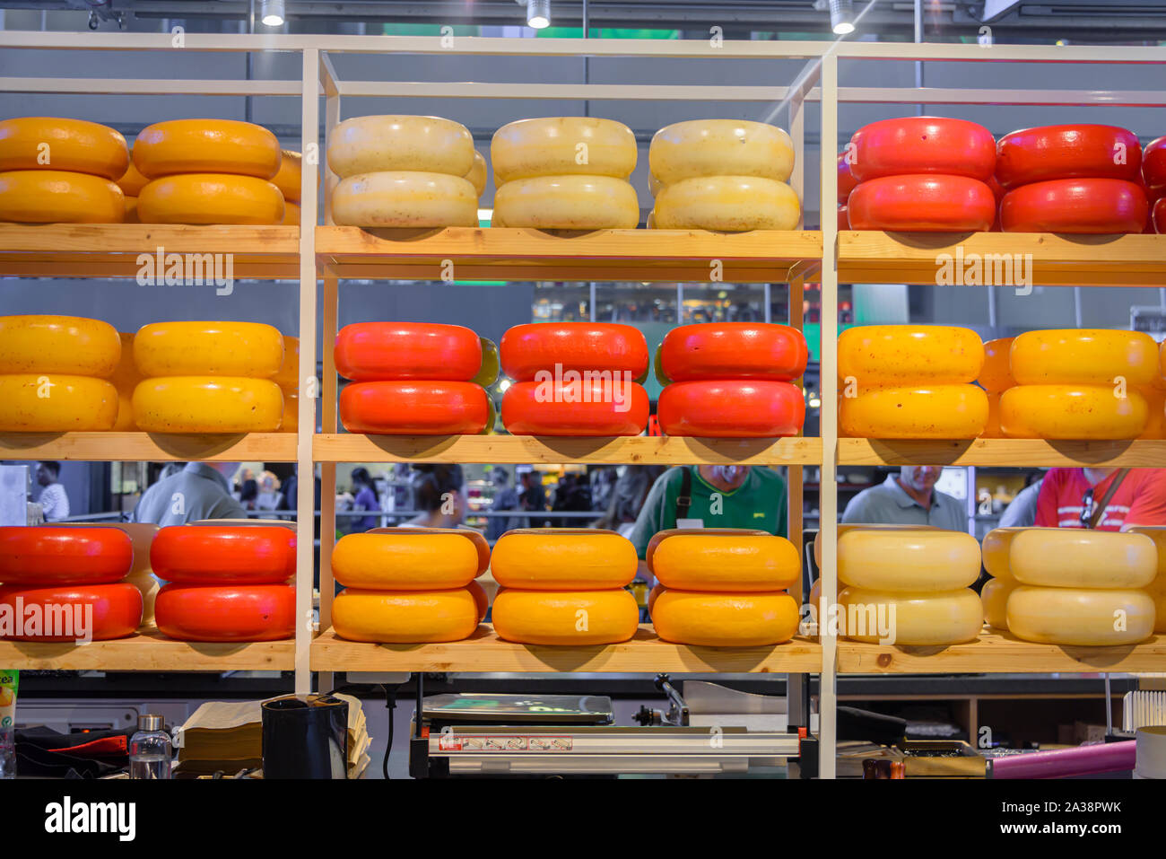 Large number of cheeses at a Dutch cheese shop, Rotterdam, Netherlands Stock Photo