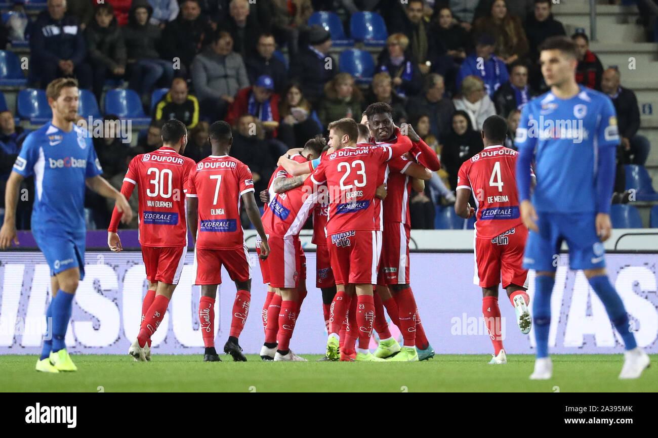 Genk Belgium October 06 Jonah Osabutey Of Mouscron Celebrates After Scoring A Goal During The Jupiler