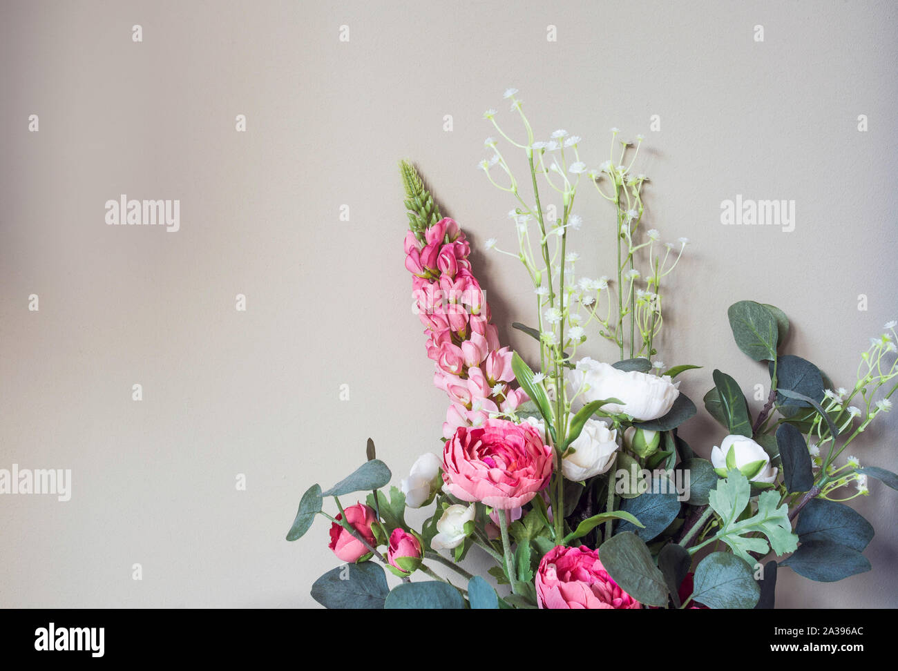 Small Bouquet Of Pink Flowers Grey Cement Wall Background Styled Stock Image Mockup For Text Artwork Quotes Lettering Website Banner Template Stock Photo Alamy