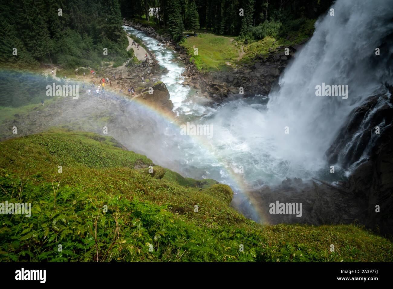 Rainbow over Krimml Waterfalls, High Tauern National Park, Salzburg, Austria Stock Photo