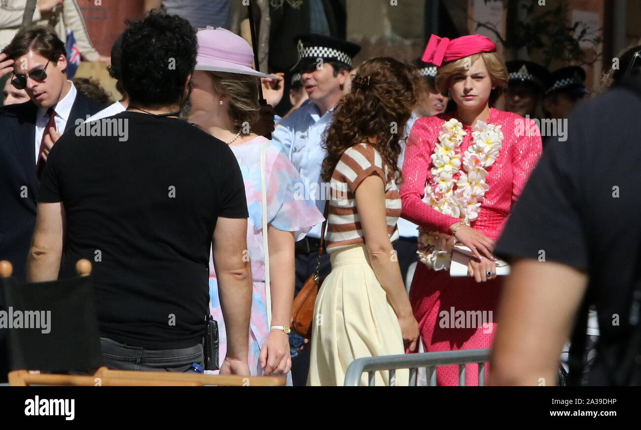 October 6, 2019: 6 October 2019 (Malaga ) The center of Malaga has hosted this Sunday the filming of new chapters of the fourth season of The Crown, the series produced by Netflix which narrates different moments in the life of Queen Elizabeth II and the British royal family. Among the many actors who starred in the day was actress Emma Corrin, who plays Lady Di in this fourth season of The Crown, the series that recreates the biography of Queen Elizabeth II of England. Meanwhile, the third season opens on Netflix on November 17 Credit: Lorenzo Carnero/ZUMA Wire/Alamy Live News Stock Photo