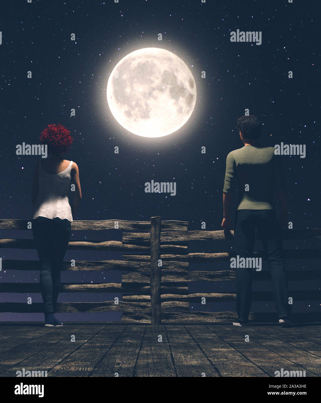Distance between us,Man and woman on the wooden bridge at night with the moon background,3d illustration Stock Photo