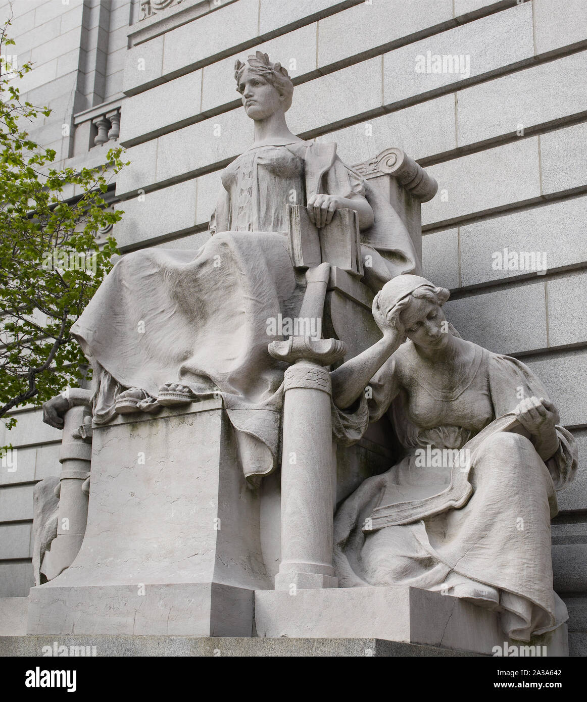 Sculpture Providence as Independent Thought, Flanked by Industry and Education, by John Massey Rhind at the John O. Pastore Federal Building in Providence, Rhode Island Stock Photo