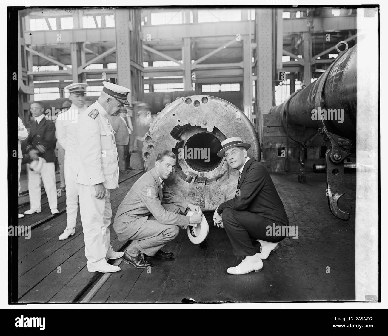 Sec. Wilbur, John Coolidge, and Admiral Hutchison, Navy Yard, 8/1/24 Stock Photo