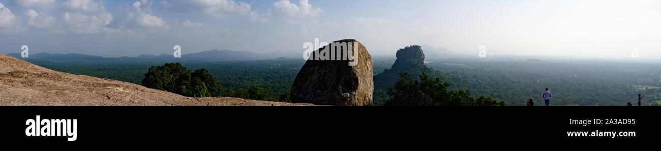 Panoramic view of sigiriya rock from nearby summit Stock Photo