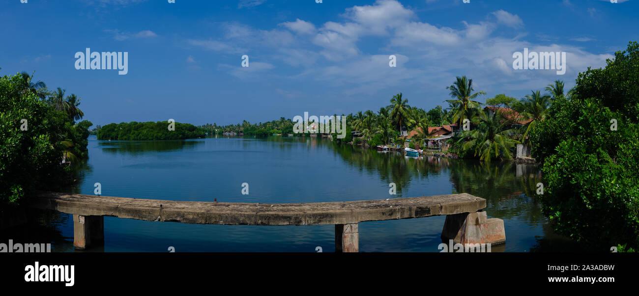 Lagoon landscape iin negombo Sri Lanka Stock Photo