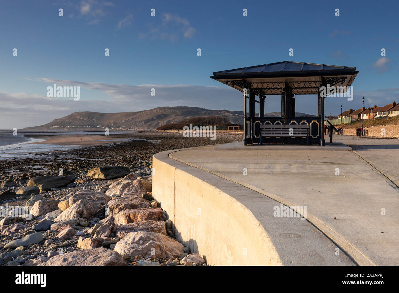 Shelter on the promenade at Deganwy on the North Wales coast Stock Photo