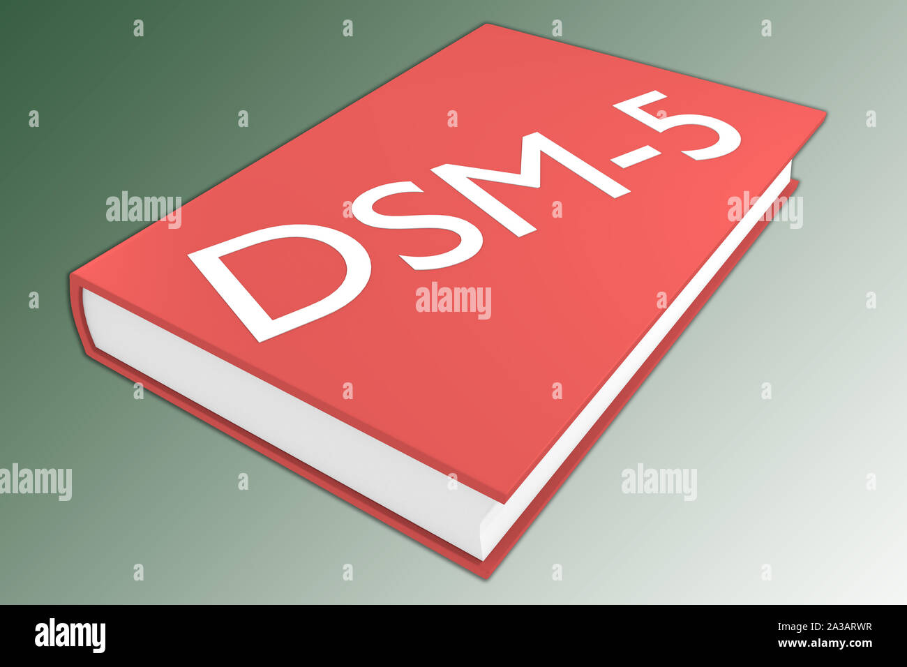 3D illustration of DSM-5 script on a book, isolated on green gradient. Stock Photo