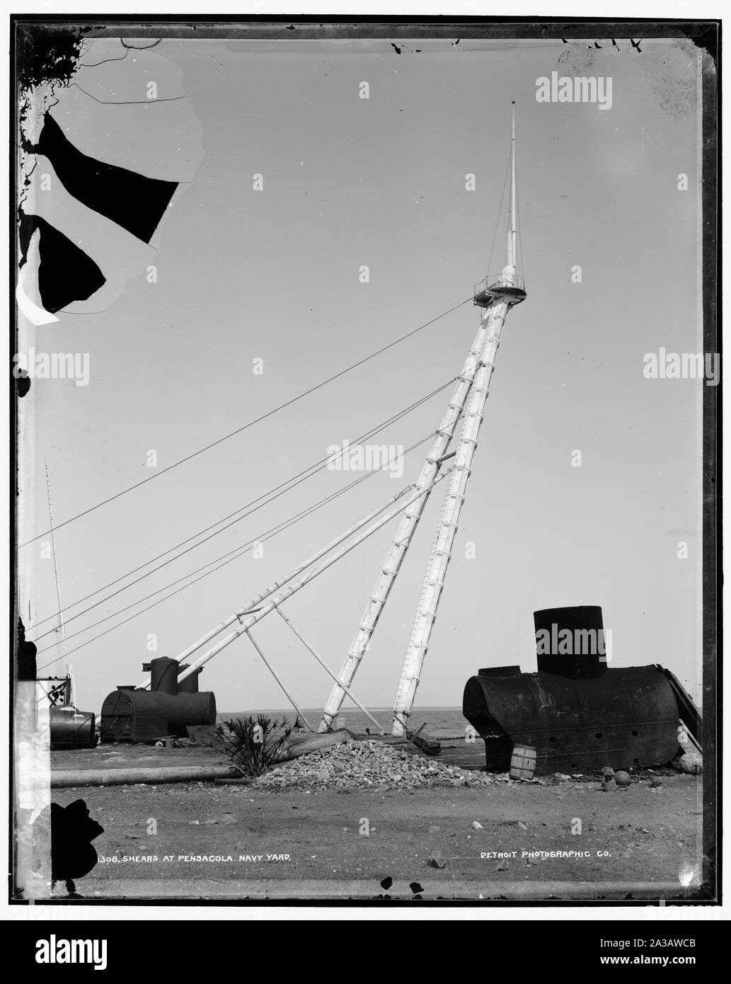 Shears at Pensacola Navy Yard; Shears at Pensacola Navy Yard; Stock Photo