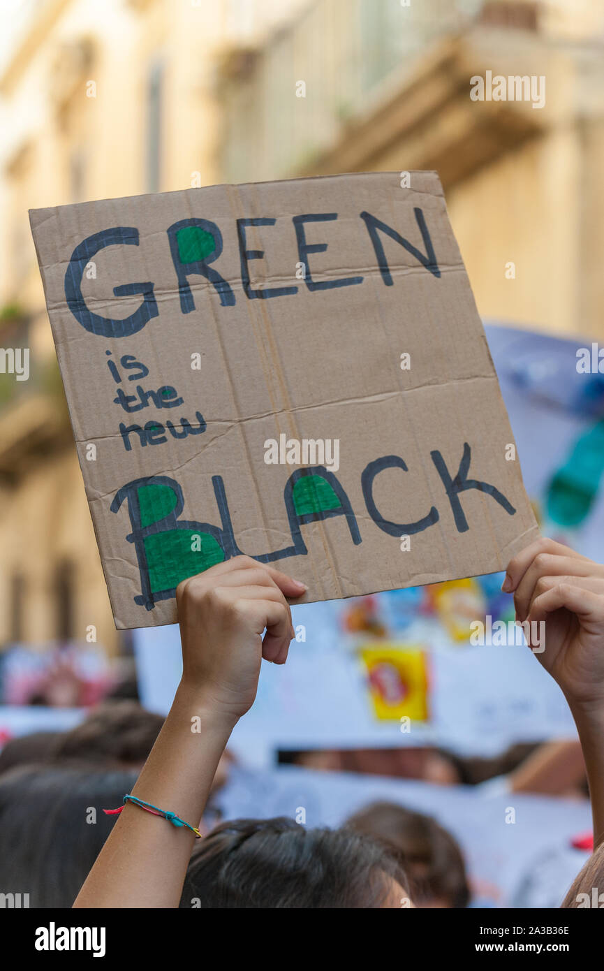 School Strike For Climate Green Movement Board Friday For Future Lecce 27 September 2019 Stock Photo Alamy