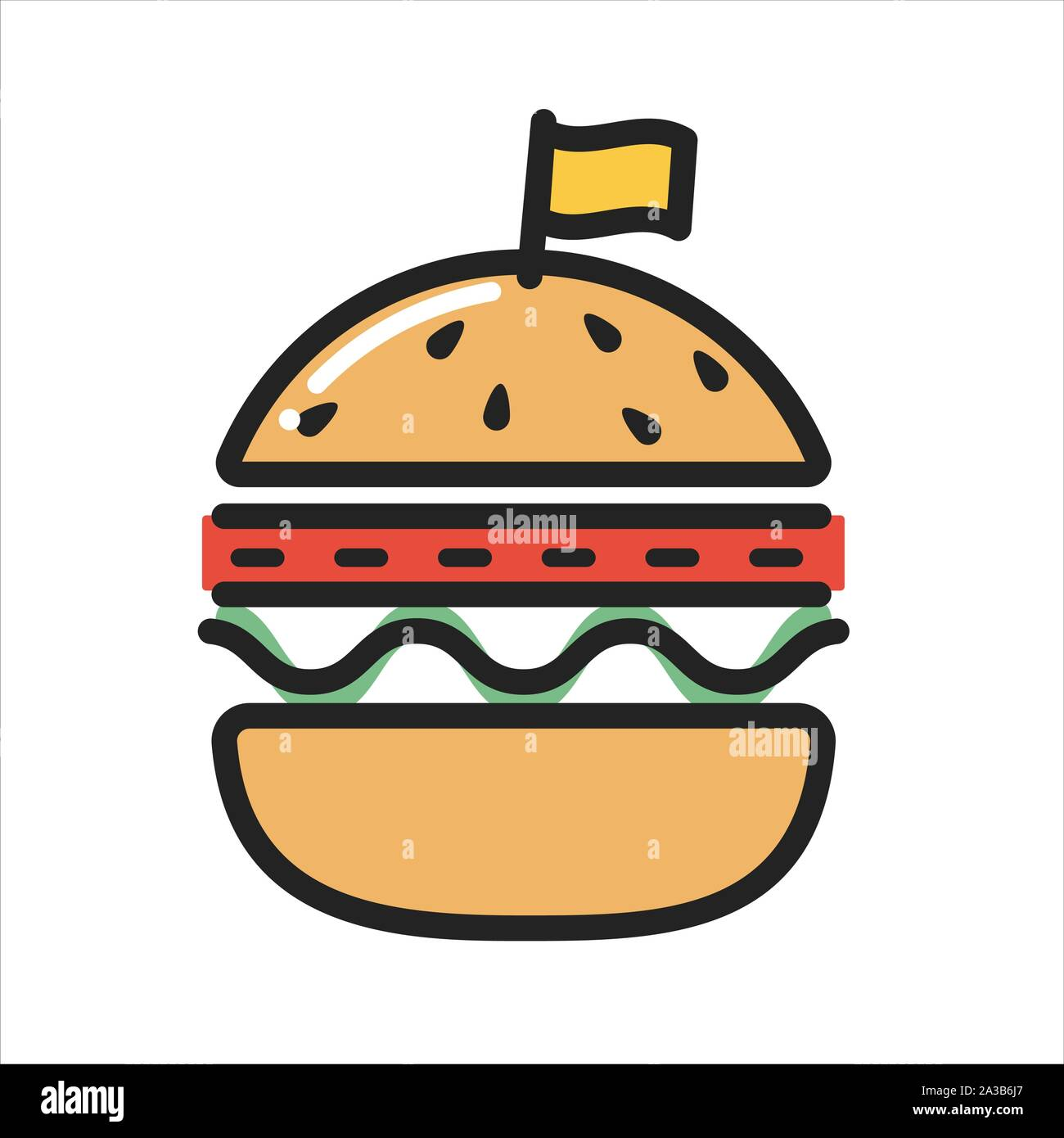 BURGER thin line icon isolated on white background Stock Vector