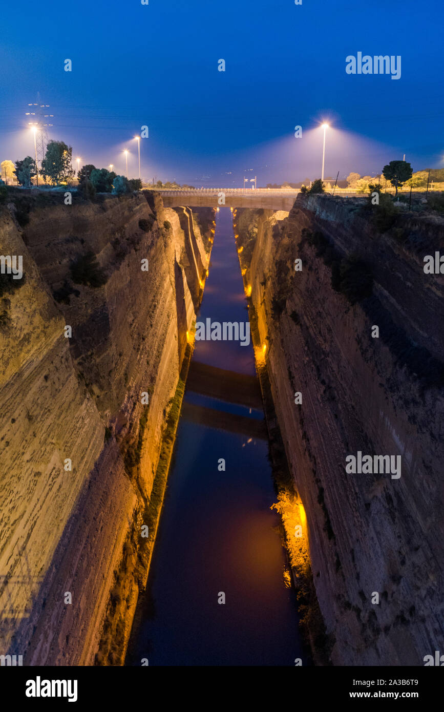 Corinth canal by night Stock Photo