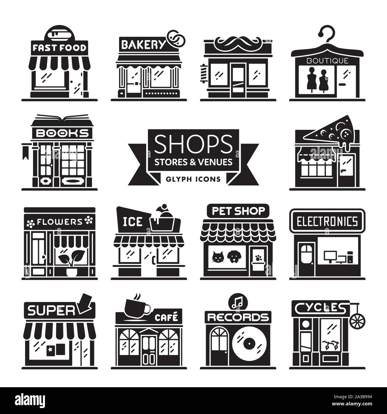 Shops, stores and restaurants icon collection. Set of 14 storefront vector illsutartions. Retail and shopping concept. Stock Vector