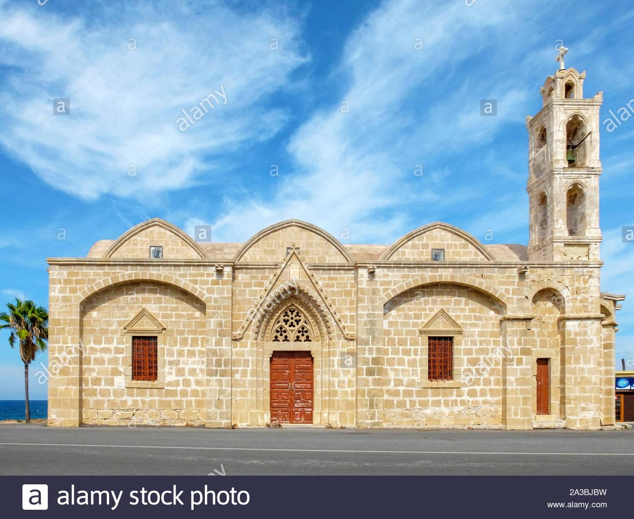 Ayios Thyrsos (Agios Therissos) church on the Karpaz Peniunsula, Yeni Erenköy, Famagusta (Iskele) District, Cyprus (Northern Cyprus). Stock Photo
