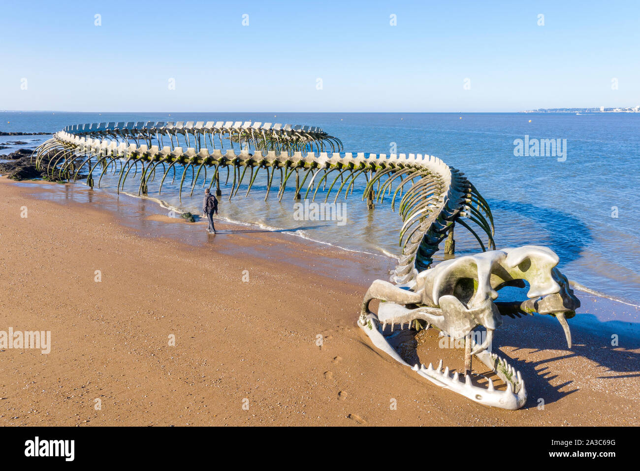 France, Loire Atlantique, Saint Brevin les Pins, Mindin, the Serpent d'Ocean (Ocean Serpent) monumental sculpture by Chinese artist Huang Yong Ping // Stock Photo
