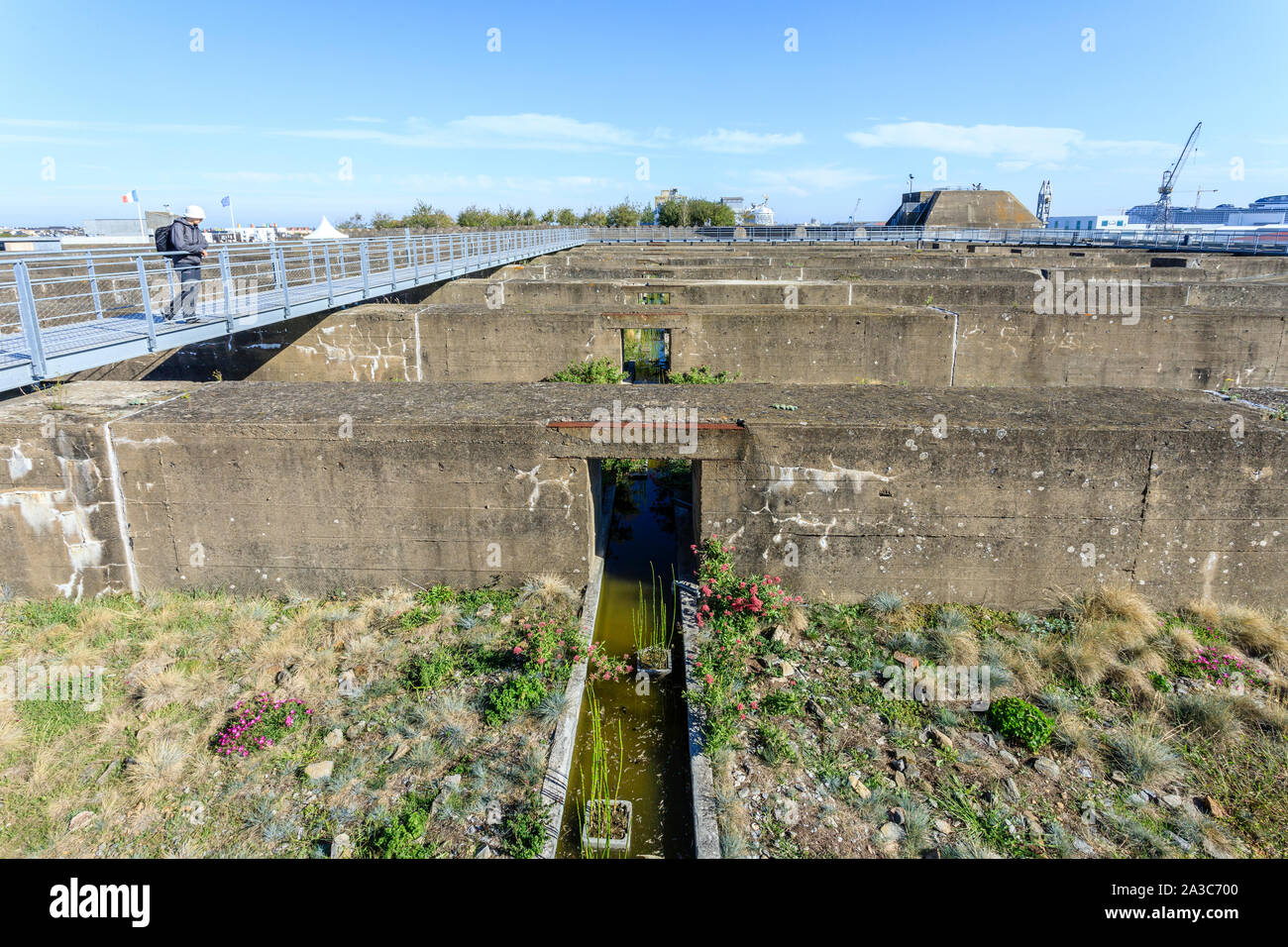 France, Loire Atlantique, Saint Nazaire, gardens of the Tiers Paysage (Third Landscape Gardens) installed on the roof of the old submarine base, here Stock Photo