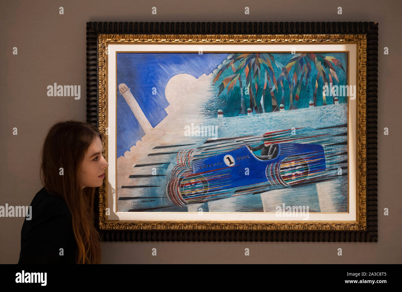 Bonhams, New Bond Street, London, UK. 7th October 2019. Highlights from Bonhams Impressionist and Modern Art sale on 10th October include Gran Premio di Tripoli by Vittorio Corona, estimate: £25,000-35,000. Credit: Malcolm Park/Alamy Live News. Stock Photo