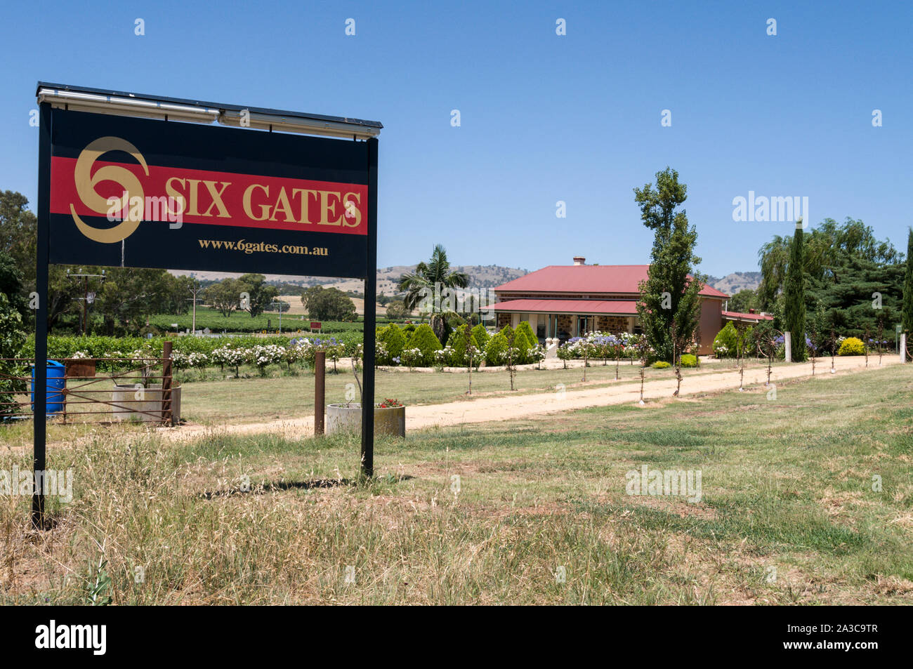 Six Gates winery in the Barossa Valley wine region in South Australia.   There are about 150 wineries in the Barossa Valley wine region, and is one of Stock Photo