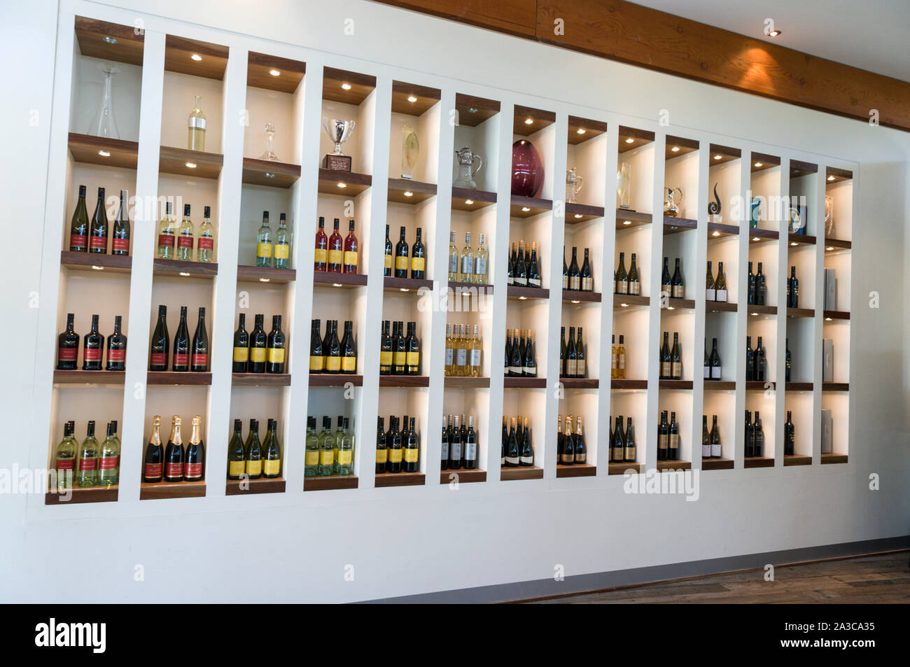 A large display of wines and trophies in the visitors center at Wolf Blass  winery in the Barossa Valley wine region in South Australia.   There are a Stock Photo