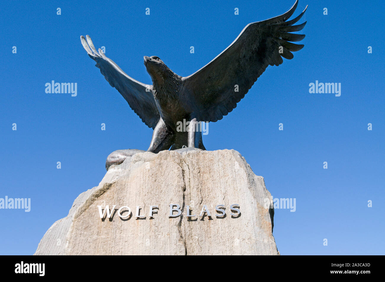 A statue of an eagle of the Wolf Blass trademark, situated at the Wolf Blass main winery visitor's centre in the Barossa Valley wine region in South A Stock Photo