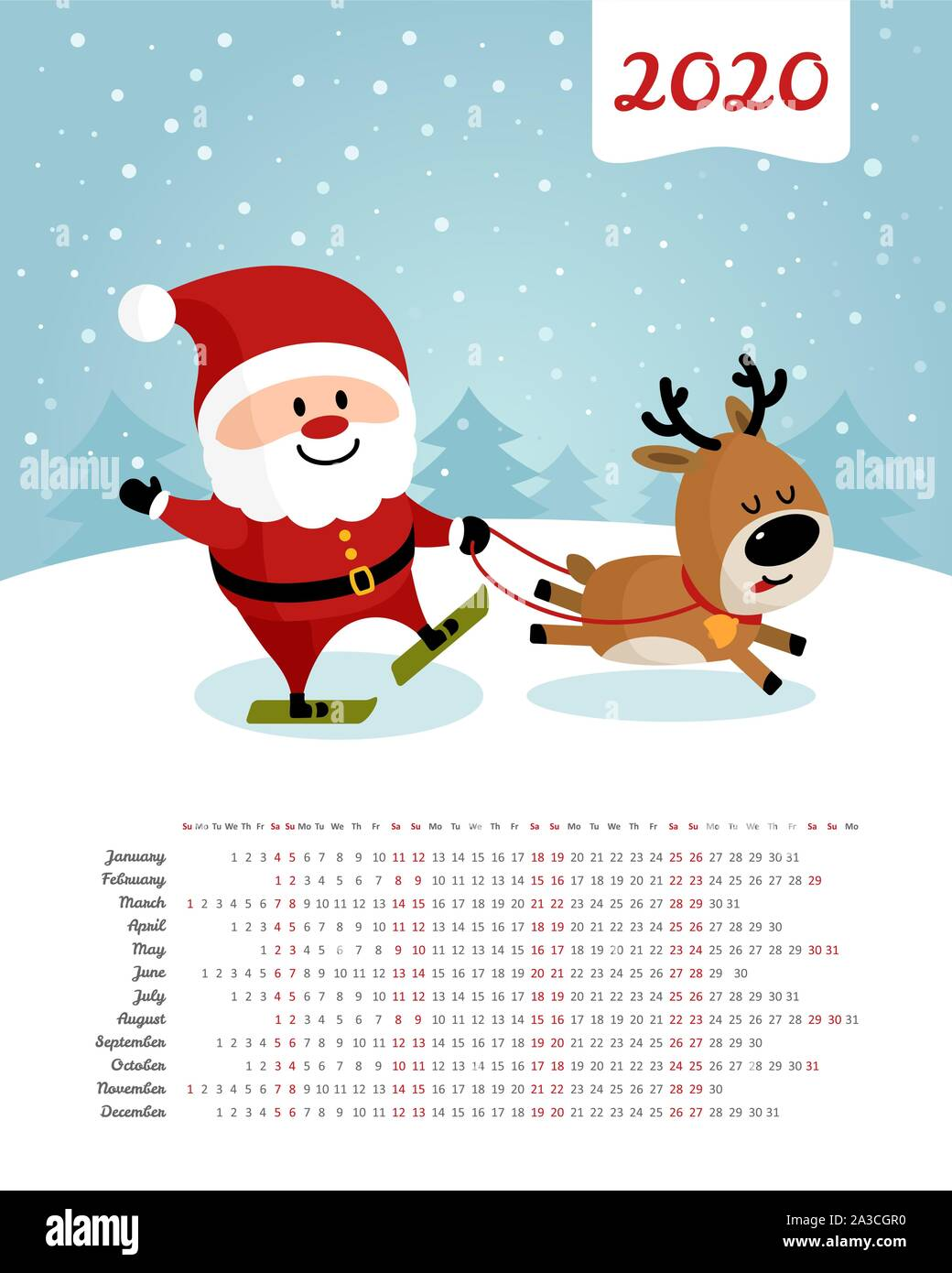 Christmas Skiing 2020 Calendar 2020 year. Santa Claus and deer skiing. Merry Christmas