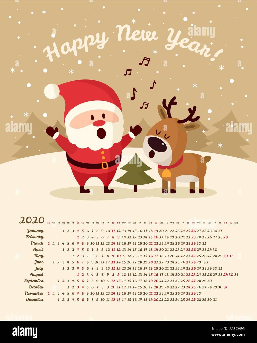 Christmas Santa Claus In July Sales 2020 Calendar 2020 year. Santa Claus with deer singing near Christmas