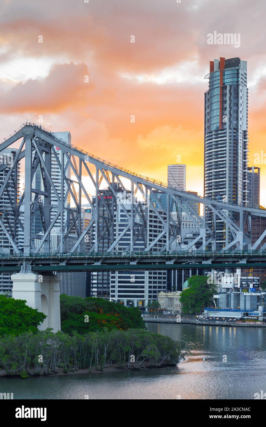 The Story Bridge in Brisbane, Queensland, Australia, is a steel cantilevered bridge on the Brisbane River. Stock Photo