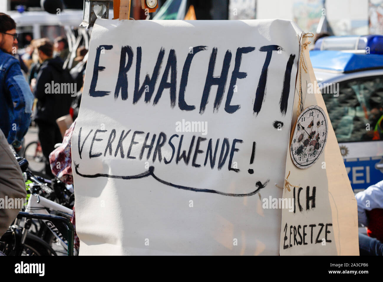 """Members of the climate protection organization """"Extinction Rebellion"""" block traffic at Potsdamer Platz in Berlin/Germanduring a worldwide action week. Stock Photo"""