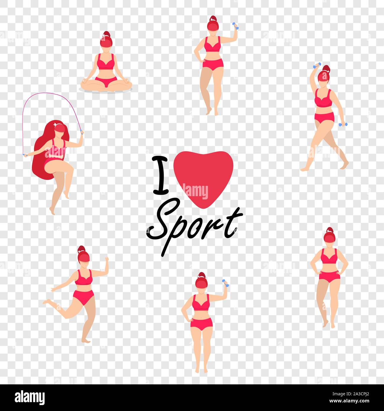 Workout Girl Set Woman Full Body Fitness Yoga Exercises With Dumbbells Jumping Rope Fitness Weight Loss Plus Size I Love Sport Cartoon Flat Vect Stock Vector Image Art Alamy