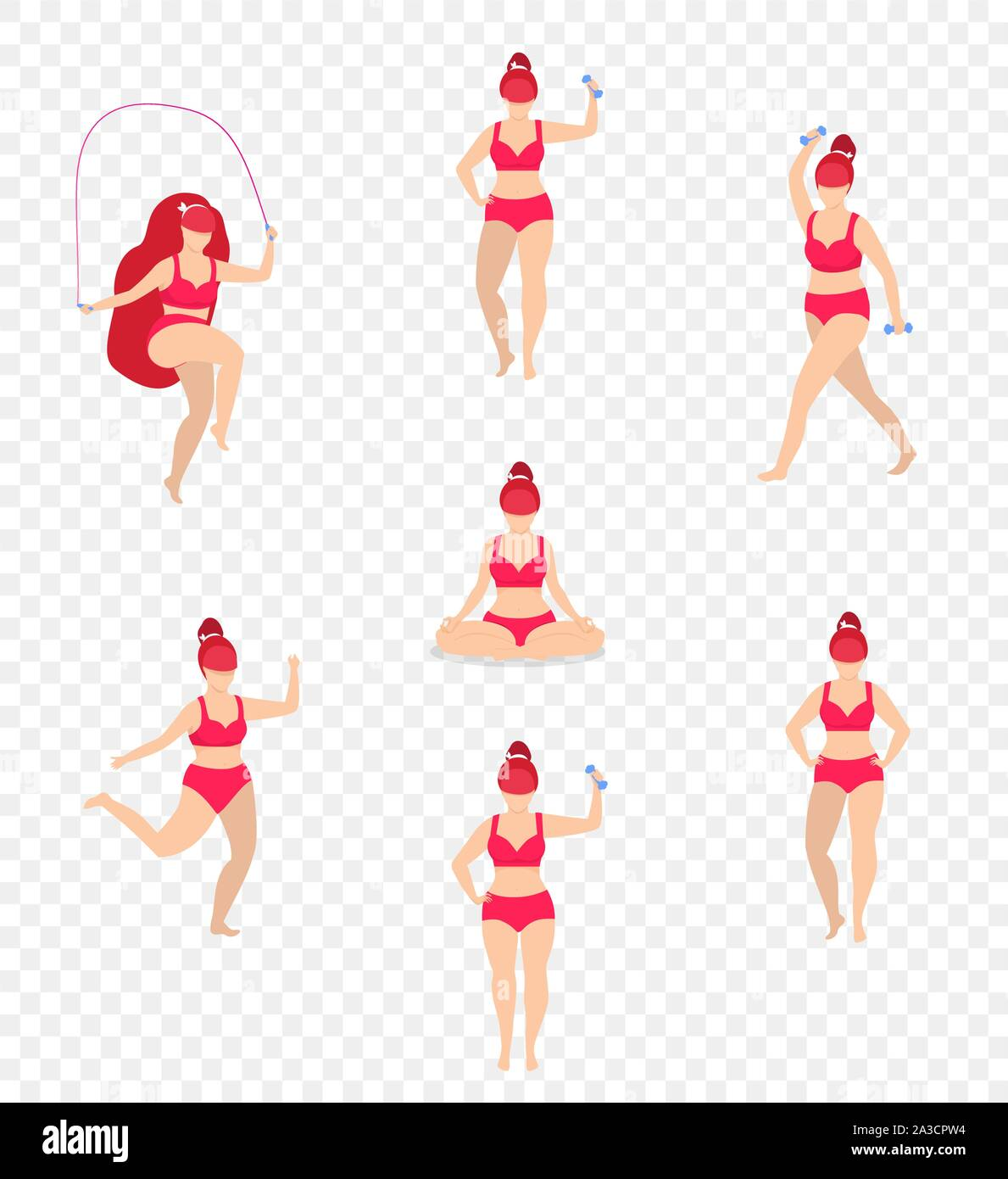 Woman Sports Activities Set Girl Sport Workout Full Body Fitness Yoga Exercises With Dumbbells Jumping Rope Isolated Weight Loss Plus Size Sportsw Stock Vector Image Art Alamy
