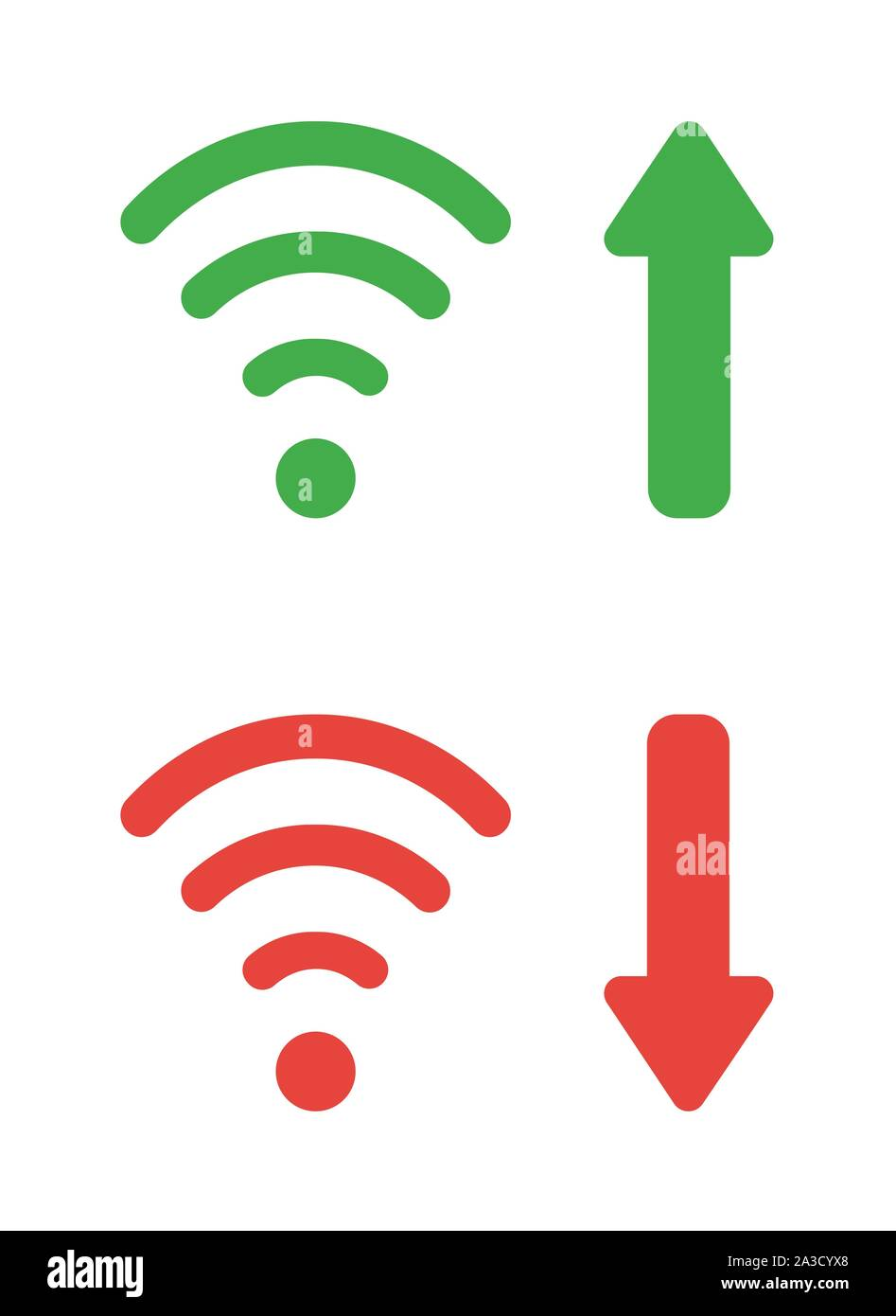 Vector Icon Set Of Wireless Wifi Symbols With Arrow Moving Up And Down Flat Color Style Stock Vector Image Art Alamy Search more hd transparent wifi symbol image on kindpng. https www alamy com vector icon set of wireless wifi symbols with arrow moving up and down flat color style image329126288 html