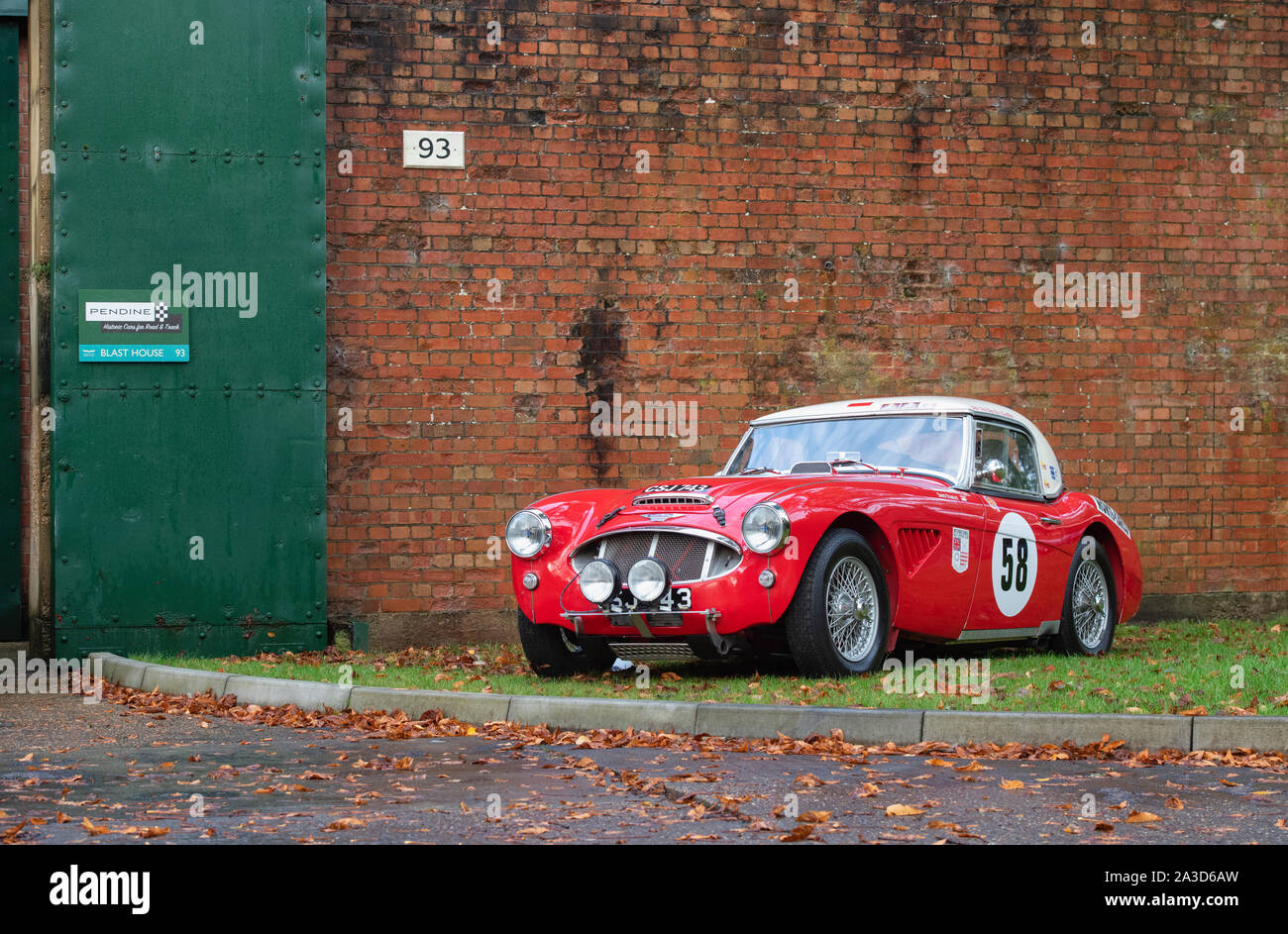1962 Austin Healey car at Bicester heritage centre autumn sunday scramble event. Bicester, Oxfordshire, UK Stock Photo