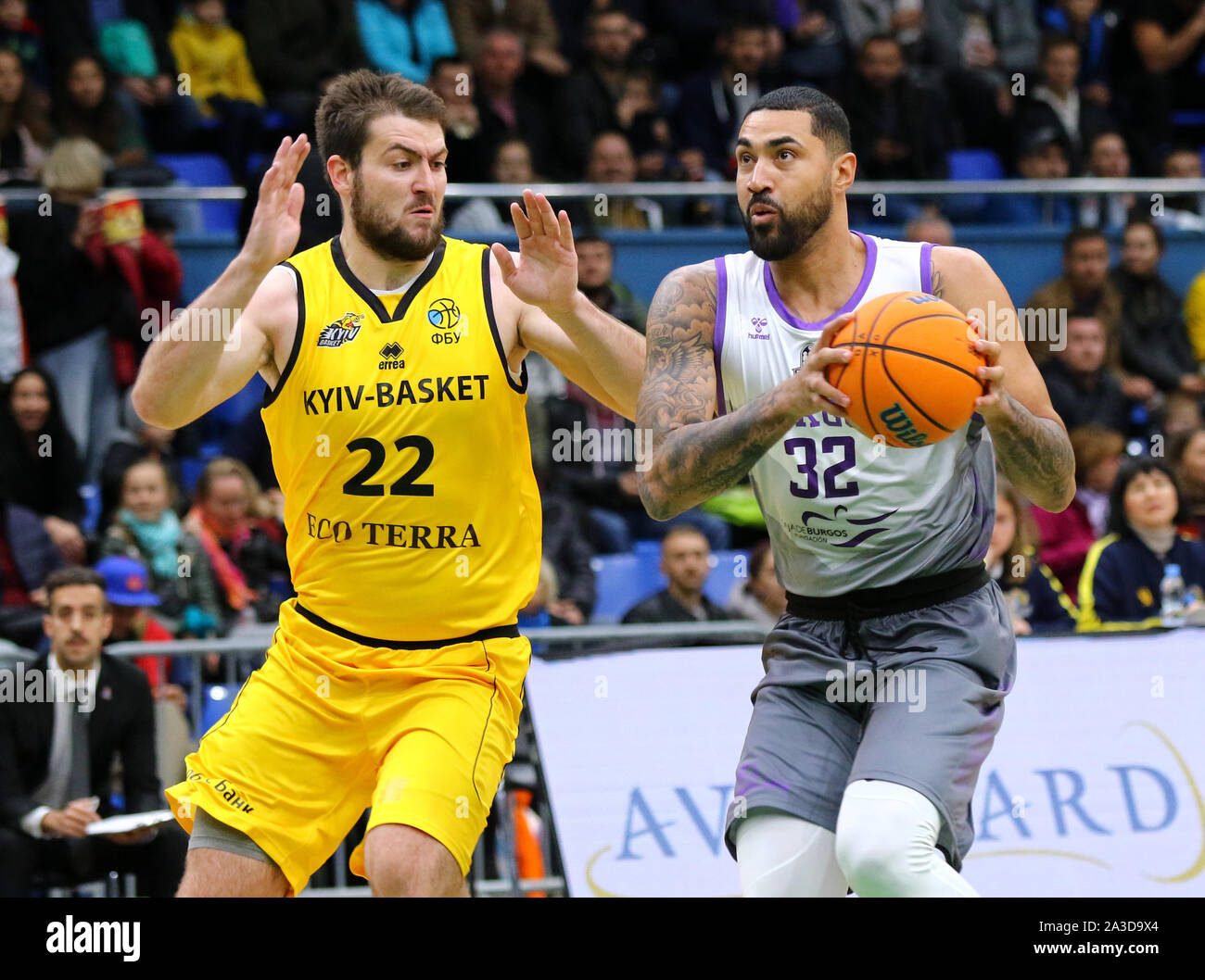 KYIV, UKRAINE - SEPTEMBER 26, 2019: Viacheslav Petrov of BC Kyiv Basket (L) and Augusto Lima of San Pablo Burgos in action during their FIBA Basketball Champions League Qualifiers game Stock Photo