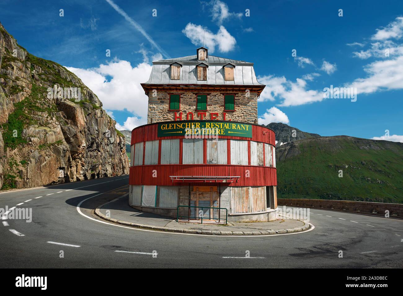 Closed mountain hotel located near the Rhone Glacier in Furka Pass, Switzerland Stock Photo