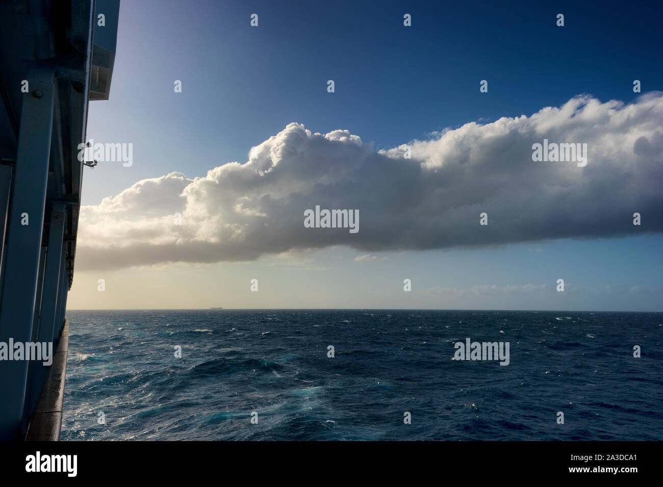 Background image of Atlantic ocean with cloud formations in the sky Stock Photo
