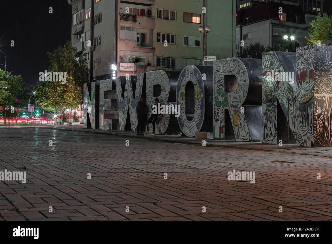 Newborn monument in Pristina Kosovo. Stock Photo