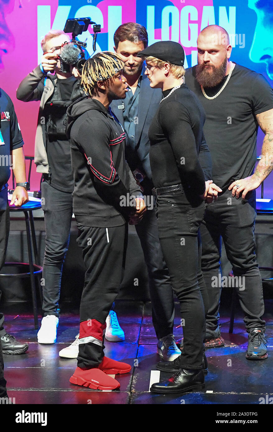 KSI (left) and Logan Paul during the press conference at Troxy, London. Stock Photo
