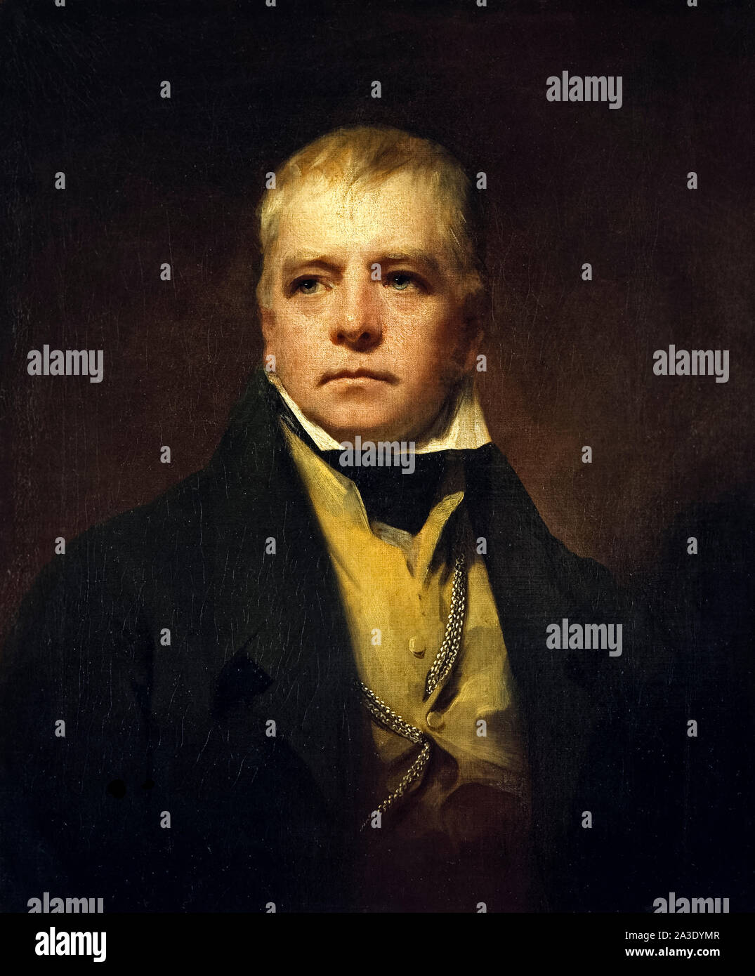 Sir Walter Scott (1771-1832) Scottish author, poet and historian whose works remain classics of English literature. Oil painting by Sir Henry Raeburn (1756-1823) painted in 1822. Stock Photo