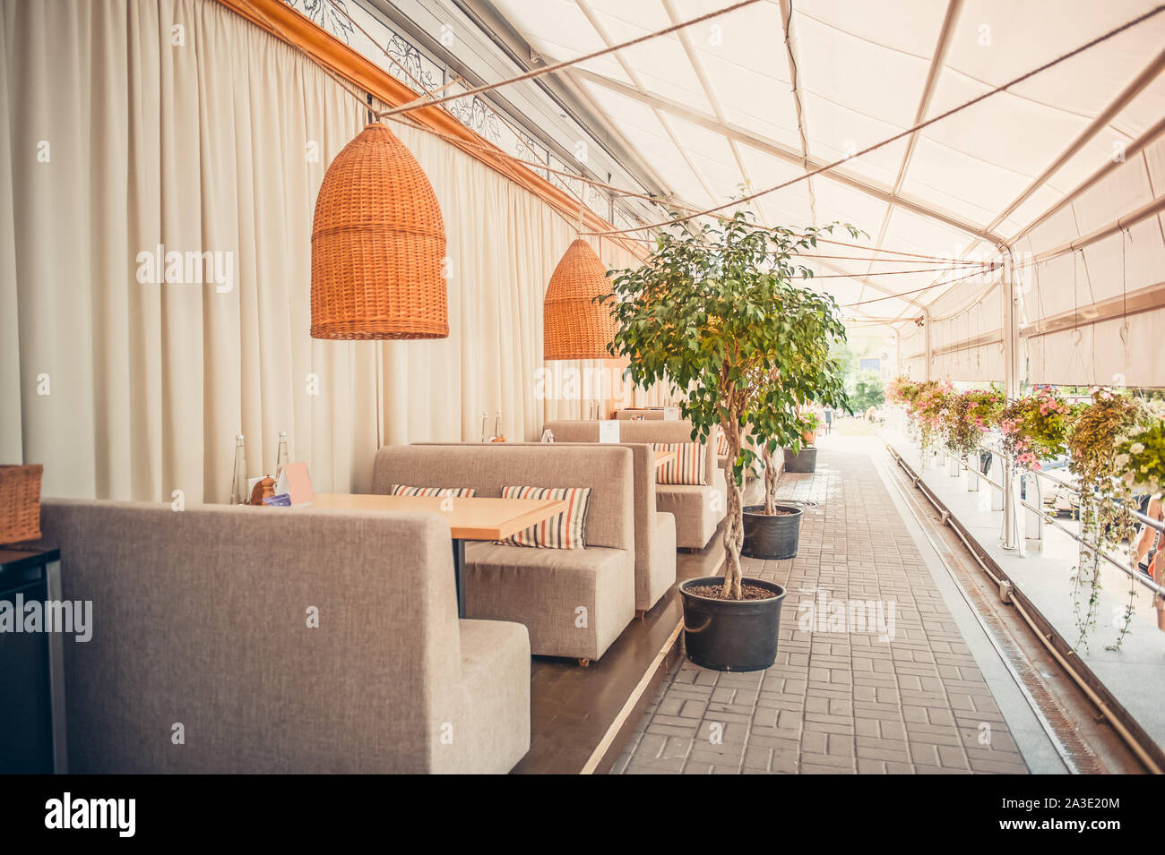 Outdoor Large Restaurant S Terrace Patio In Light Natural Eco Style Selective Focus Copy Space Stock Photo Alamy