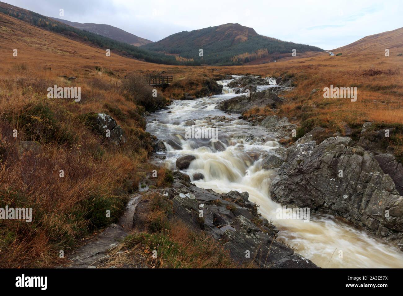 Autumn colors in Highlands of Glen Sannox at isle of arran, Scotland. Stock Photo
