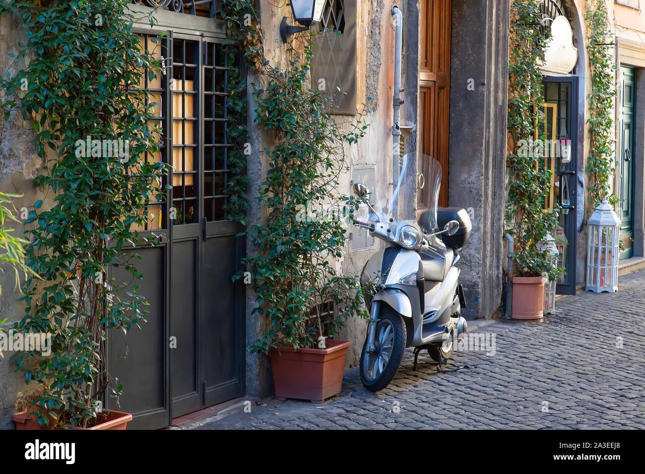 Beautiful Rome streets in historic city center near Vatican Stock Photo