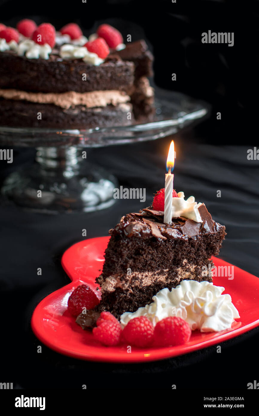 Sensational A Slice Of Chocolate Birthday Cake Is Garnished With A Lit Candle Personalised Birthday Cards Petedlily Jamesorg