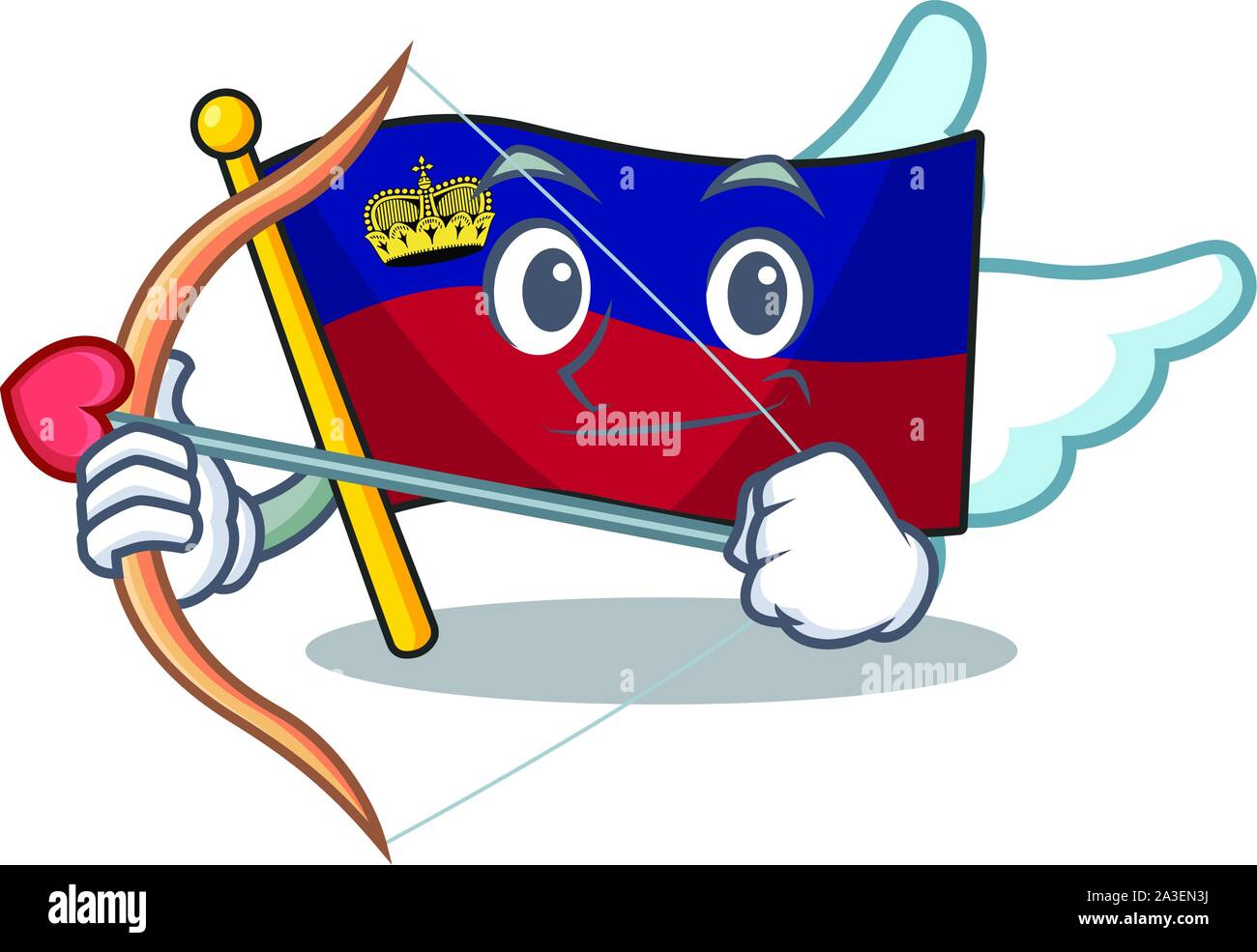 Cupid flag liechtenstein mascot with isolated character Stock Vector