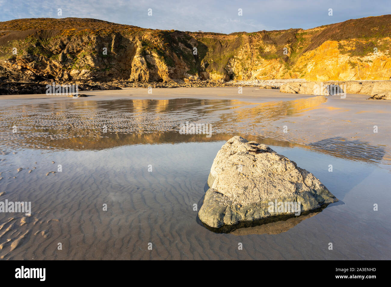 The beach at Church Bay on the coast of Anglesey, North Wales Stock Photo
