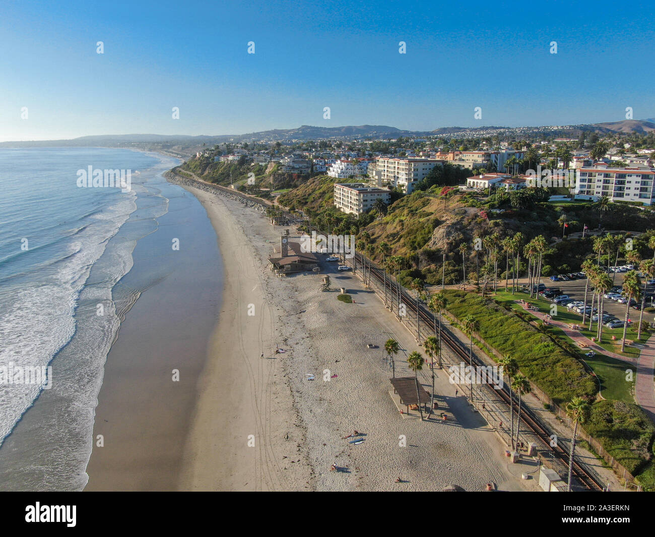 Aerial view of San Clemente coastline town and beach, Orange County, California, USA. Travel destination South West Coast. Famous beach for surfer. Stock Photo