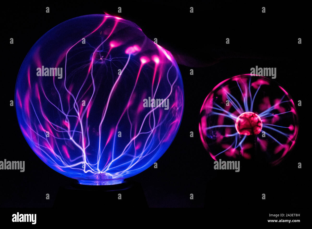 Electricity fire-ball. Abstract photo of electric waves. Static electricity - Stock Image Stock Photo