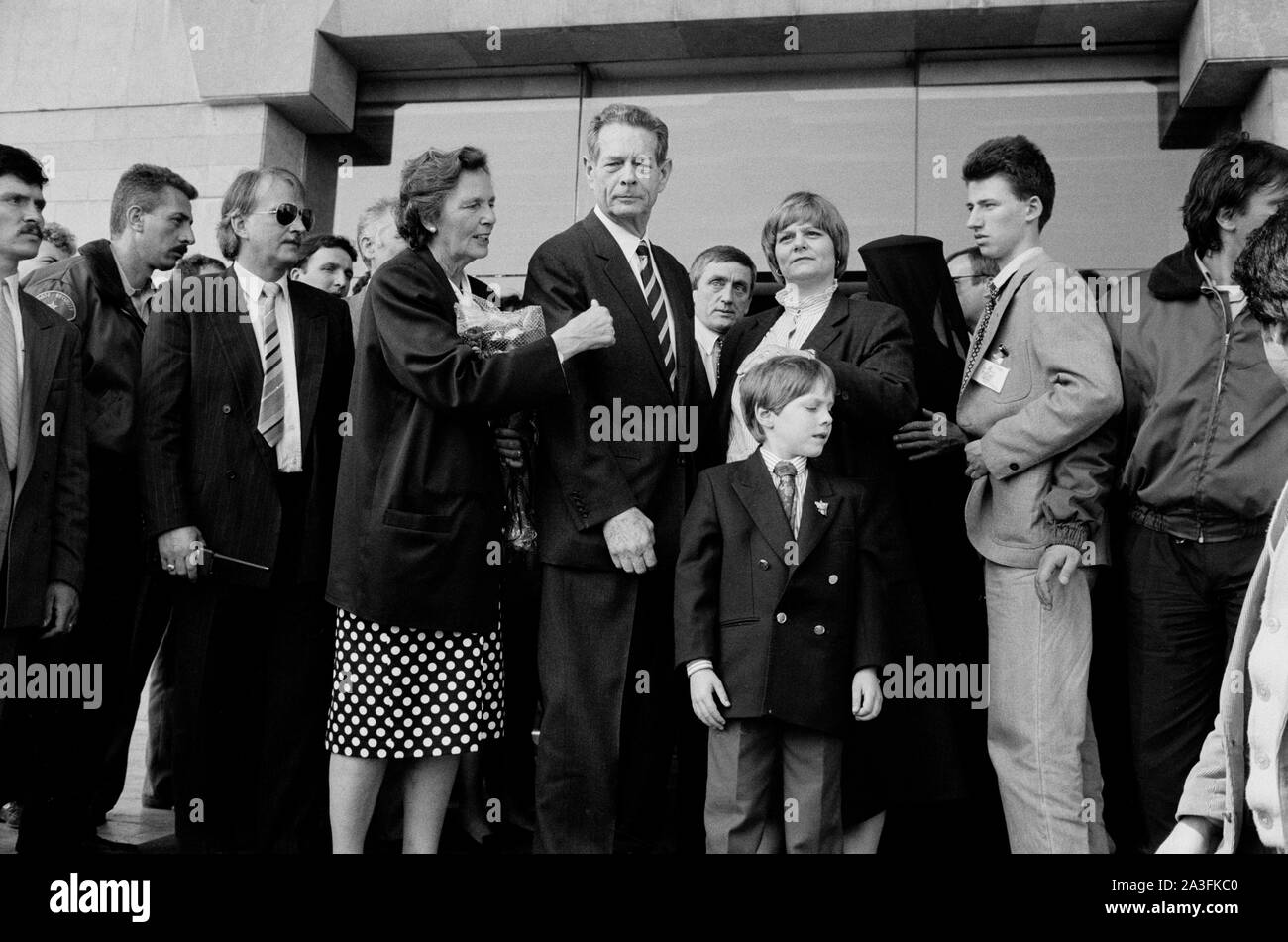 King Michael I of Romania, with Queen Anne, and his family, arrives back in Romania from exile, in Bucharest, Romania, in 1992. Stock Photo