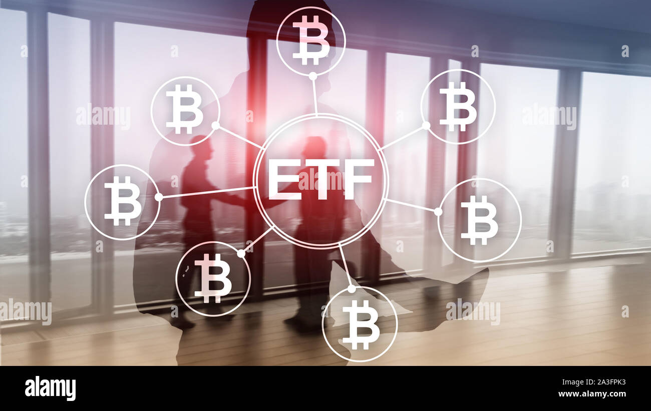 Bitcoin ETF cryptocurrency trading and investment concept on double exposure background Stock Photo